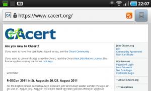 CAcert-Zertifikat in Android